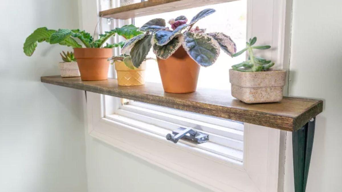 This DIY plant shelf takes 30 minute to make