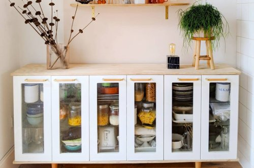 This old IKEA kitchen was upcycled into a stylish piece of furniture