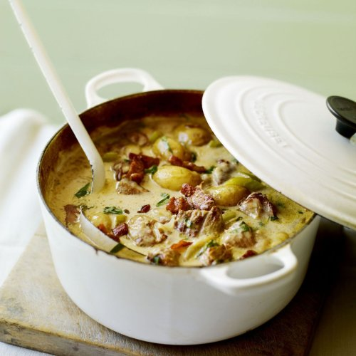 Normandy pork casserole with cider and smoked bacon lardons