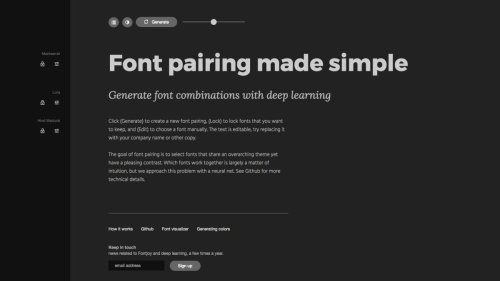 Smart typography tool generates font pairs in an instant