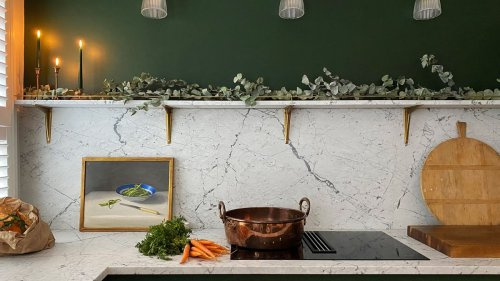 See how green paint and marble splash-backs transformed a drab small kitchen