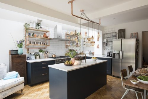 Explore this open plan kitchen extension with industrial touches