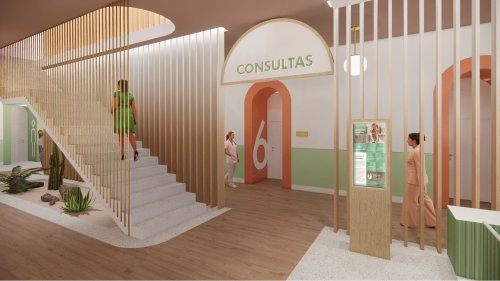 Private Clinic: A New Private Clinic with Green and Pastel Colors of the Interior