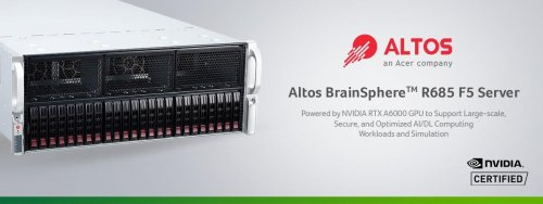 Altos BrainSphere R685 F5 server powered by NVIDIA RTX A6000 GPU for large-scale AI/DL computing workloads and simulation