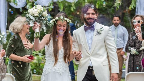 'I could feel she looked beautiful': Bride wears tactile wedding dress for blind husband