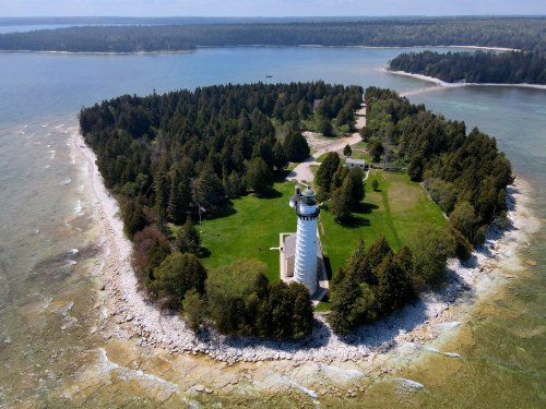 The Cana Island Lighthouse in Door County via drone