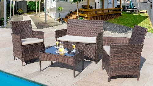This 4-piece patio furniture set is a big hit with Amazon shoppers—and it's less than $200