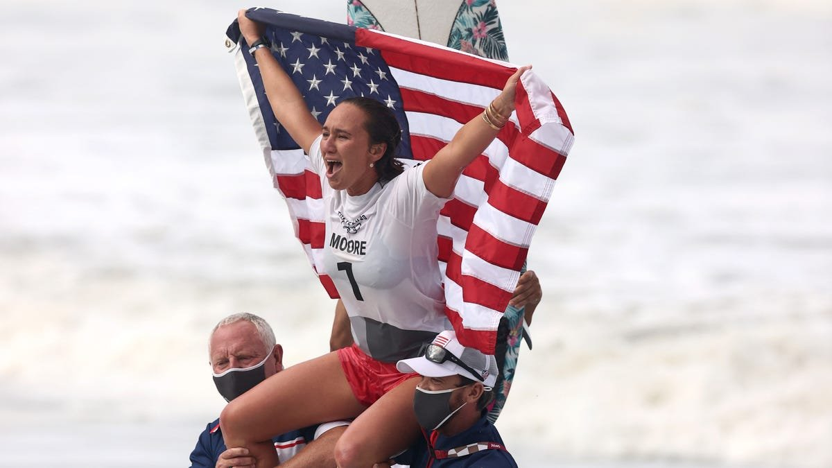 'Dance party:' American Carissa Moore wins gold medal in surfing's Olympic debut