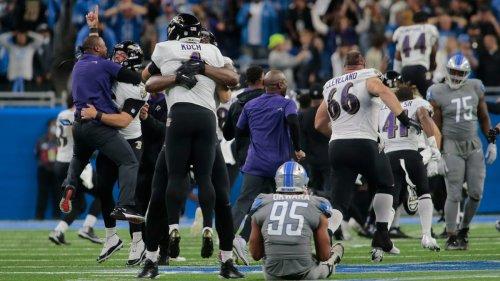 Justin Tucker's NFL-record 66-yard field goal in final seconds lifts Ravens, stuns Lions