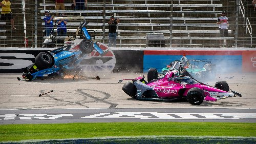 Spectacular crash mars the start of the IndyCar Series race in Texas