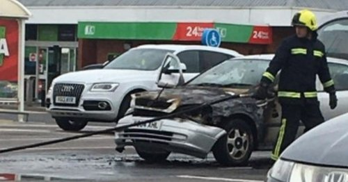 Firefighters descend on Asda after car catches fire in carpark