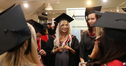 Pictures of cap 'n' gowned college students celebrating graduation