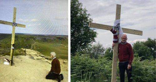 Derek carries 9ft wooden cross up Roseberry Topping in memory of son