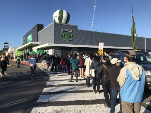 Curiosity brings out the crowds at opening of Amazon's first full-size cashierless grocery store