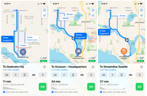 Apple Maps finally adds cycling-specific routing for Seattle bicyclists