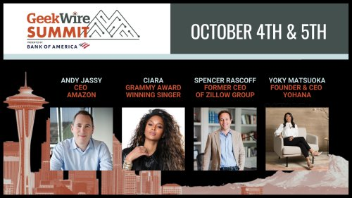 The GeekWire Summit returns next week: Agenda released featuring Andy Jassy, Ciara and others