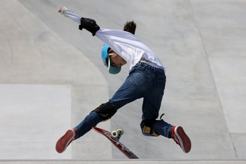 Aoi Uemura of Japan competes in the women's street skateboarding...