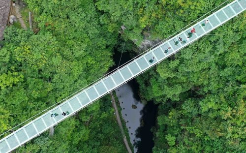 Glass suspension bridge in Rong'an China