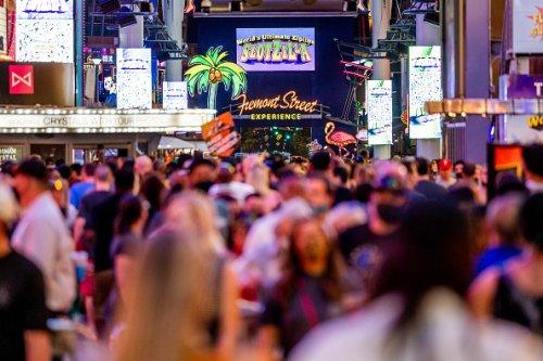 Tourists Pour Into Downtown Las Vegas