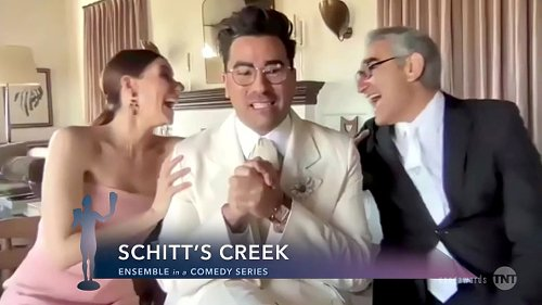Sarah Levy, Dan Levy and Eugene Levy