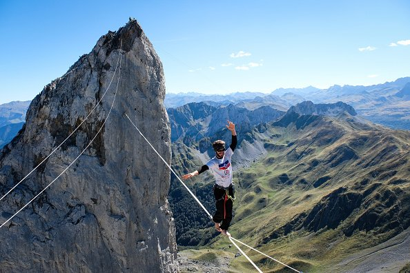 Barefoot tightwire over Pyrenees