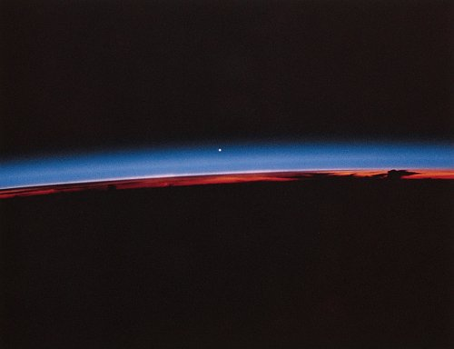 Venus seen from space just above Earth