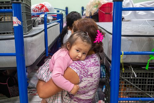 A toddler in the Ciudad Juarez shelter