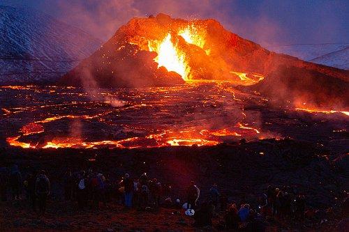 Hikers at Mount Fagradalsfjall Eruption
