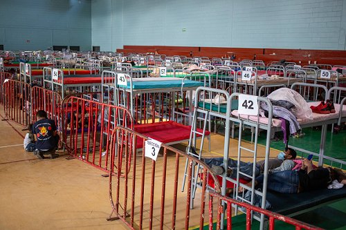 Beds area set up inside the shelter of Ciudad Juarez