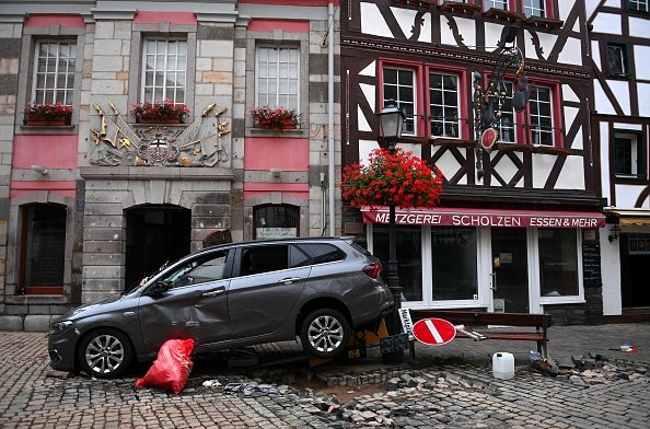 Car tossed about in Western Germany