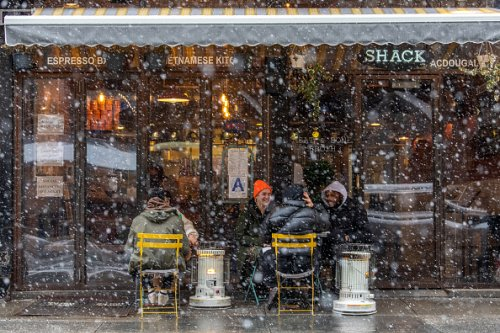 Snowy dining