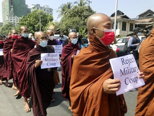 Monks join protest
