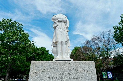 A decapitated statue of Christopher Columbus in Boston