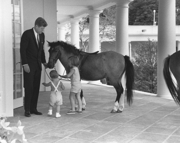 President John F. Kennedy and his children play with pony, Macaroni
