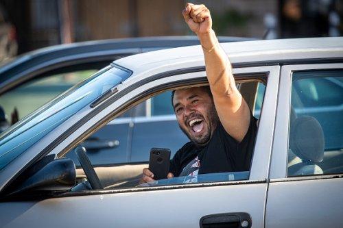 A motorist celebrates in L.A.