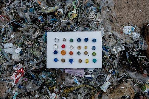 Bottle caps on Jimbaran Beach in Bali