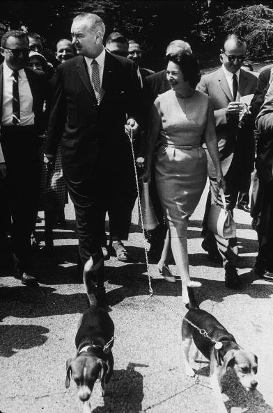 President LBJ and Lady Bird Johnson with their beagles