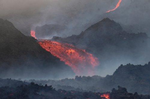 Lava flows from Guatemala's Pacaya Volcano