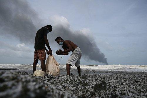 Container ship debris washes ashore in Sri Lanka