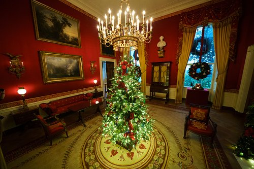 A Christmas tree in the Red Room of the White House