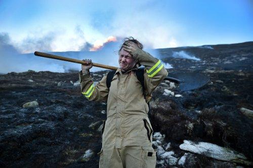 Firefighter Battles the Moorland Fire