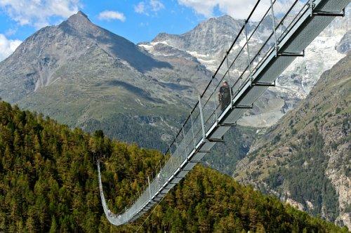Switzerland's Charles Kuonen Suspension Bridge
