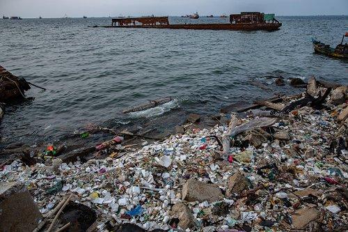 Littered beach in Indonesia