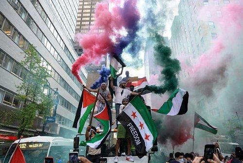 Manifestazione a sostegno della Palestina a Manhattan