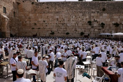 Jewish Men Gather at the Western Wall