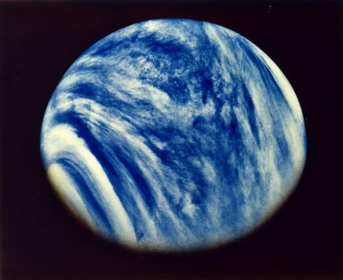 Cloud-covered blue planet