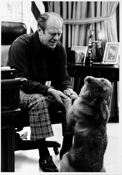 President Ford and his golden retriever, Liberty