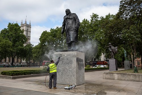 Winston Churchill statue scrubbed of messages