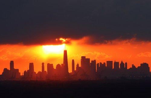 Earth Day's dawn over Manhattan's skyline