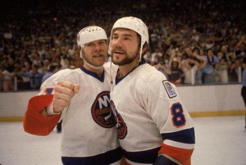 Islanders' Butch Goring and Gary Howatt, 1980